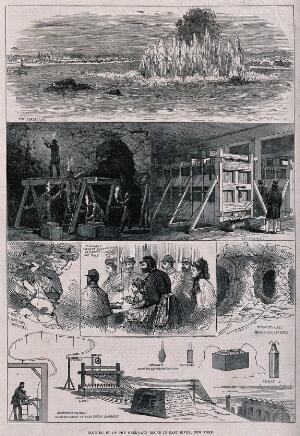 view The controlled explosion of an underwater mine to clear rocks in the East River between Harlem and the Bronx, New York. Wood engraving.