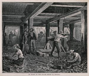 view A silver mine: miners digging. Wood engraving.