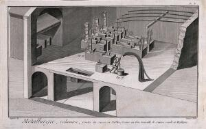 view Machinery used in the cooling and processing of copper. Etching by Bénard after L.J. Goussier.