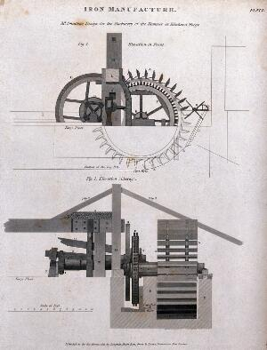 view Engineering: cross-sections of the hammer designed by John Smeaton for use in iron manufacture. Engraving by W. Lowry after J. Farey the younger.