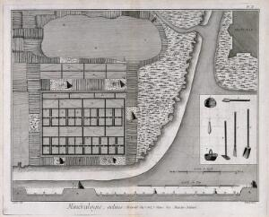 view Plan of a salt-marsh and instruments used in the process of salt extraction. Etching by Bénard after L.J. Goussier.