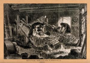 view Men grinding scythes in Sheffield. Wood engraving by M. Jackson, 1866, after J. Palmer, 1865.