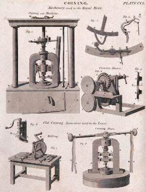 view Coinage: machinery used in the Royal Mint. Engraving.