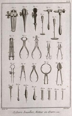 view Diamondworks: a selection of mallets, vices, pincers, chisels, and gimlets. Etching by Bénard after Lucotte.