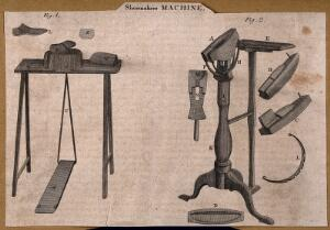 view Shoemakers: machinery used in the making of shoes. Engraving.