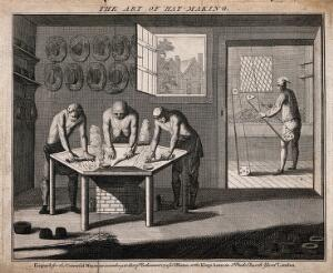 view Hat makers: interior view, various implements used in the making of hats. Engraving.