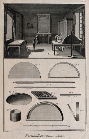 view Fan makers: a woman painting fan leaves, and various painting materials. Etching by Defehrt after L.J. Goussier.