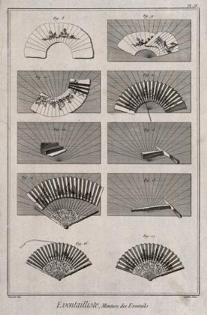 view Fan makers: various stages in the process of fan making and instruments used. Etching by Defehrt after L.J. Goussier.