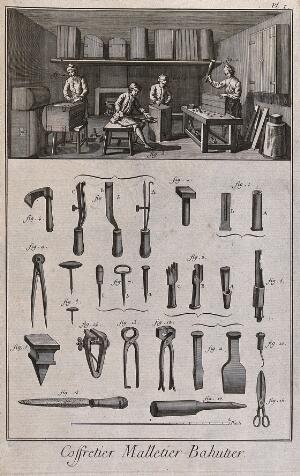 view Chestmakers' workshop: interior view, and a selection of tools used. Etching.