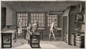 view Confectioner's shop: interior view, manufacture of sugar-plums. Etching.