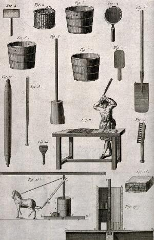 view Various implements used in the making of clay pipes. Etching.