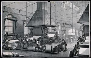 view Papeterie Darblay, Essonne,  Ile de France: mechanized, shaft-driven paper-making machines attended by workmen. Wood engraving by H. Linton, 1859, after E. Bourdelin.