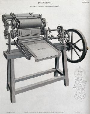 view Printing: a three-quarter view of a press made by Bacon & Donkins, with a detail of the eccentric gearing. Engraving by W. Lowry after J. Farey, 1819.