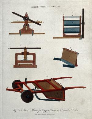 view A letter-copying machine, and a device for levelling ground. Coloured engraving by J. Pass, 1813.