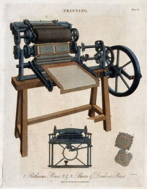 view Printing: a three-quarter view of a Bacon & Donkins press, with a detail of the eccentric gearing. Coloured engraving by W. Lowry after J. Farey, 1819.