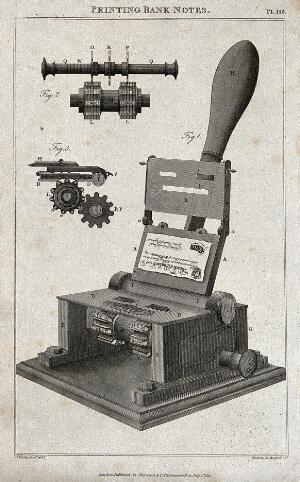 view Printing: three-quarter view and details of the Bramah numerator press for banknote production. Engraving by Mutlow after J. Farey.