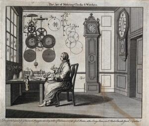 view Clocks: a watch-maker seated at his workbench with a long-case and a bracket clock behind him, diagrams of movements above his head. Engraving, 1748.