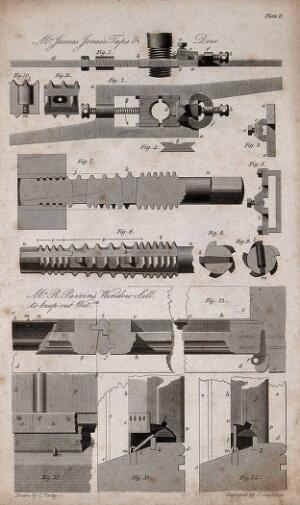 view Taps and dies for cutting screw threads, and a water-tight window: cross-sections, and details. Engraving by J. Cleghorn after C. Varley.