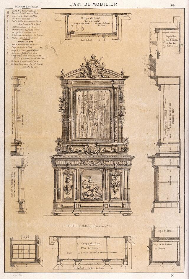 cabinet making designs for a table etching by j verchre after himself 1880