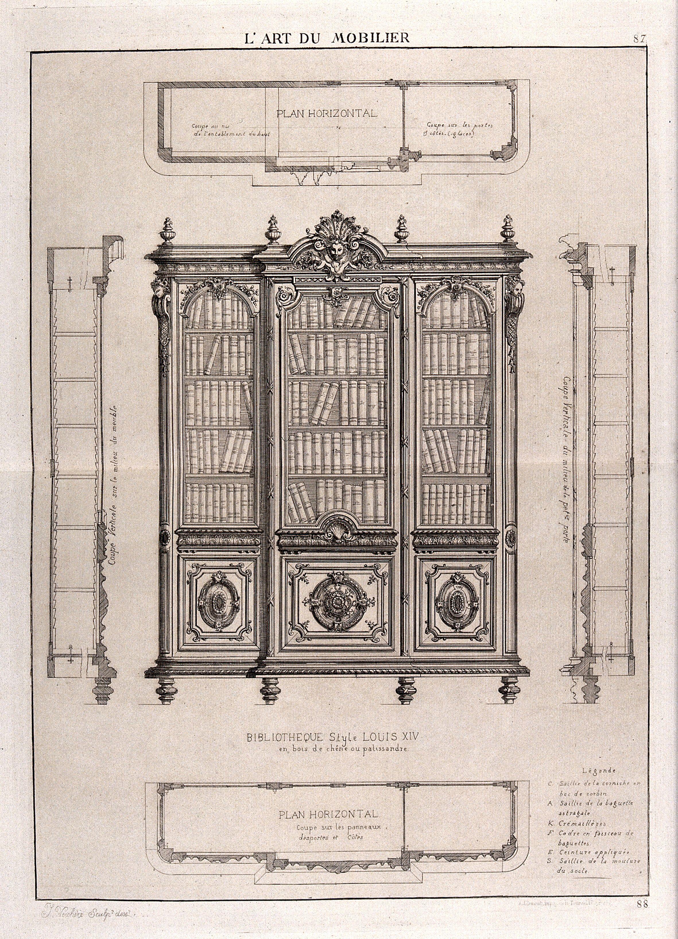 Baguette En Bois Decorative cabinet-making: design for a bookcase. etchingj