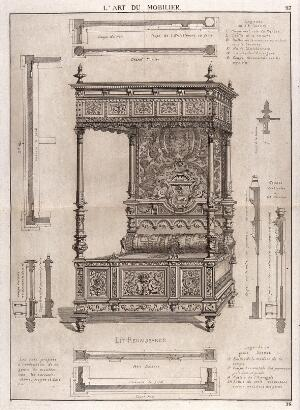 """view Cabinet-making: design for a """"four-poster"""" bed. Etching by J. Verchère after himself, 1880."""