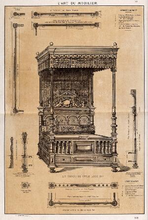 "view Cabinet-making: design for a ""four-poster"" bed. Etching by J. Verchère after himself, 1880."