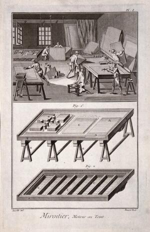 view Mirrors: a tinted mirror-factory (above), and a work table for silvering glass (below). Engraving by Benard after Lucotte.