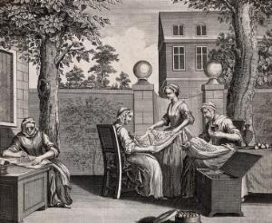 view Textiles: women in a garden sorting silkworm eggs for incubation. Engraving by B. Cole, 1749.