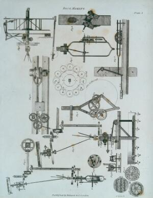 view Rope-making: details of various parts of a rope-making machine. Engraving by G. Daws.