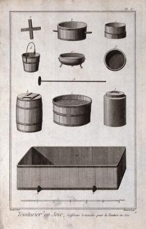 view Textiles: silk dyeing, several vats and barrels (top), a large lead [?] tank (below). Engraving by R. Benard after Radel.