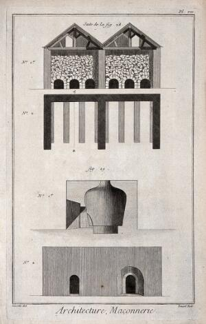 view Architecture: various walls and masonry details. Engraving by Bénard [after Lucotte?].