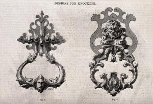 view Architecture: two designs for door knockers. Wood engraving by C. D. Laing after W. H. Rogers, 1850.