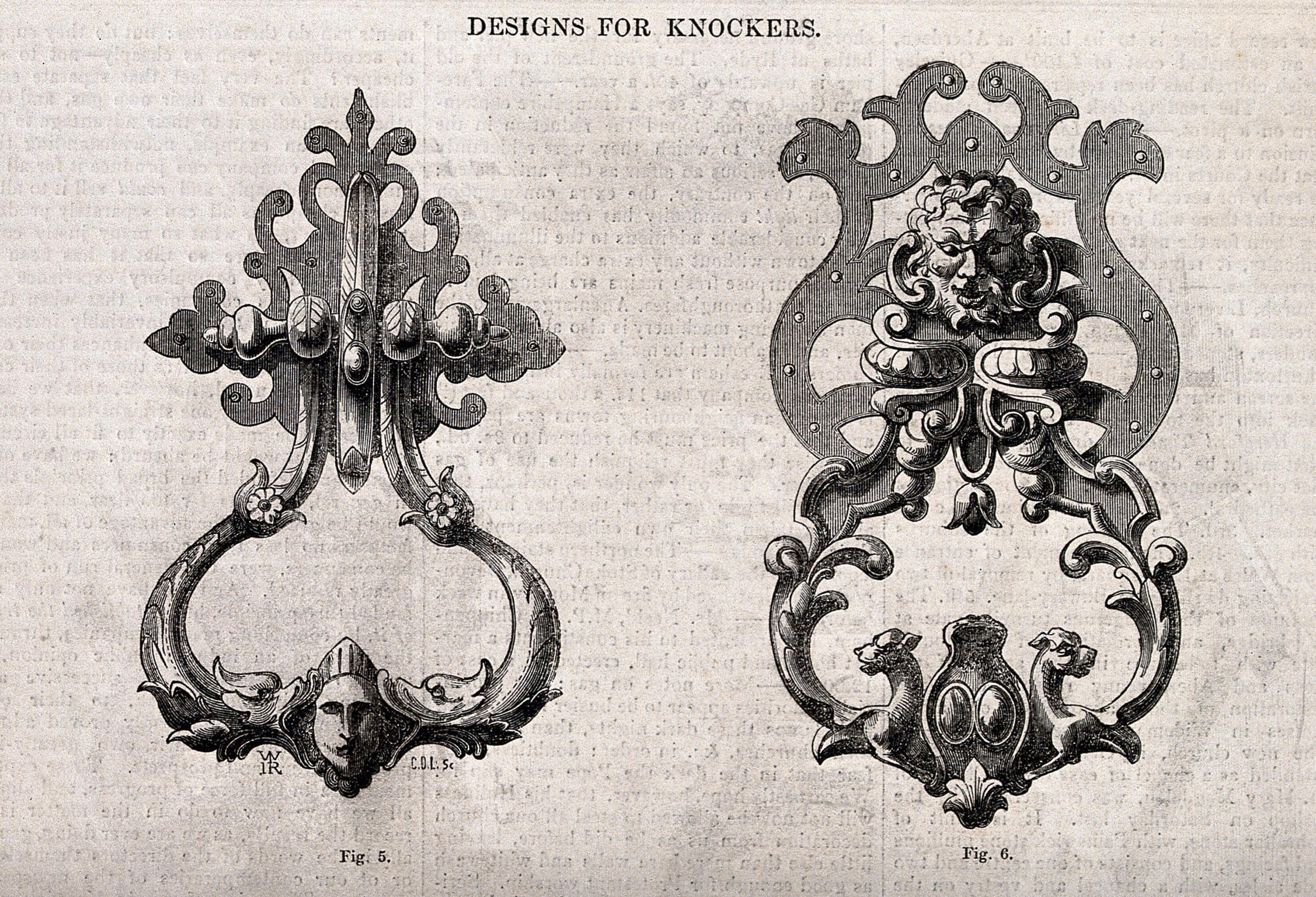 Architecture Two Designs For Door Knockers Wood Engraving By C D Laing After W H Rogers 1850 Wellcome Collection