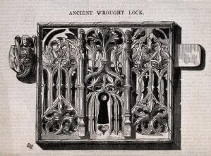view Architecture: a lock with gothic ornament. Wood engraving by C.D. Laing after E.H.