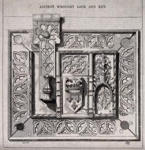view Architecture: a lock and key. Wood engraving by [E. H.].