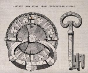 view Architecture: a lock and key with gothic ornament. Wood engraving by C. D. Laing.