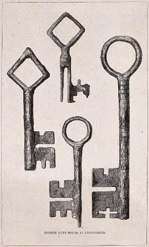view Architecture: four large keys in decayed condition. Wood engraving.
