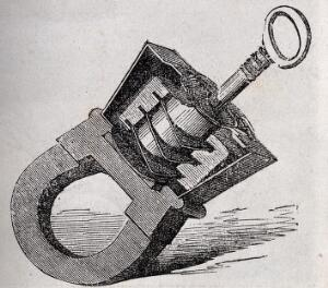 view Technology: a Russian padlock and key. Wood engraving.