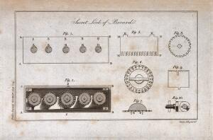 view Locks: the mechanism of a lock. Engraving by Mutlow.