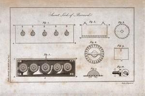 view Locks: the mechanism of a lock. Engraving by Mutlow.