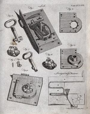 view Technology: details of a lock mechanism. Engraving by A. Bell.