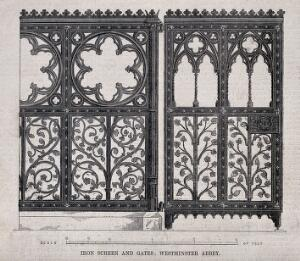 view Architecture: decorative ironwork at Westminster Abbey. Wood engraving.