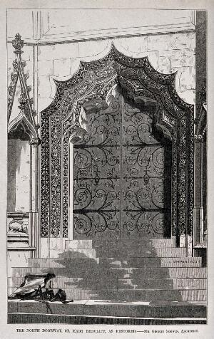view Architecture: a restored carved doorway at St. Mary Redcliffe, Bristol. Wood engraving by W. E. Hodgkin, 1853, after G. Godwin.