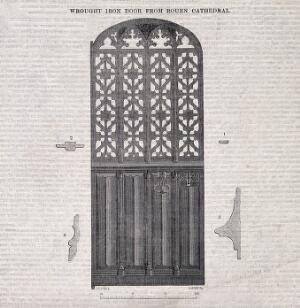 view Architecture: decorative iron door at Rouen Cathedral. Wood engraving by C. D. Laing after J. C. Hall.