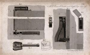 view Technology: a door-closing mechanism: long section, cross-section, and details. Engraving by G. Gladwin after himself.
