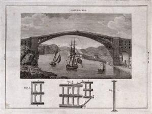 view Civil engineering: the iron bridge at Coalbrookdale, with a ship sailing beneath. Engraving.