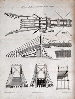 view Bridges: a temporary rope bridge. Engraving by J. H. Kernot after C. Varley.