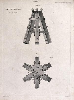 view A multiple-way joint of timber and iron for barrack building. Engraving by G. Aikman after W. Ferrier.