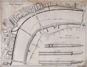 view A plan of the Thames Embankment, from Blackfriars Bridge to Westminster Bridge, with sections at three points. Lithograph by J. R. Jobbins after Sir J. Bazalgette.