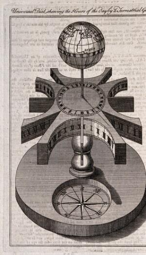 view Clocks: a universal sundial, with a compass. Engraving.